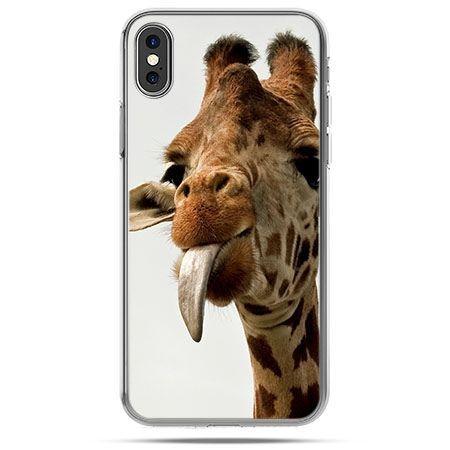 Etui na telefon iPhone XS- żyrafa z językiem
