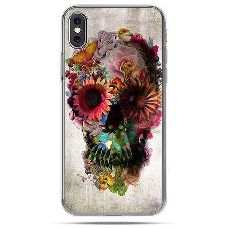 Etui na telefon iPhone XS - czaszka z kwiatami