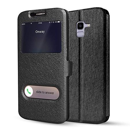 Etui na Samsung Galaxy J6 2018 - Flip Quick View z klapką dwa okienka - Czarny.