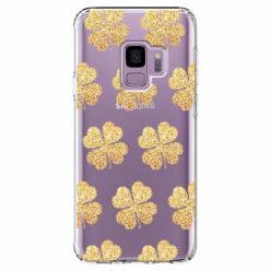 Etui na Samsung Galaxy S9 - Złote koniczynki.