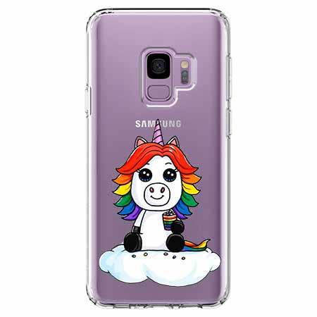 Etui na Samsung Galaxy S9 - Tęczowy jednorożec na chmurce.