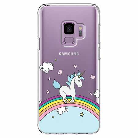 Etui na Samsung Galaxy S9 - Jednorożec na tęczy.