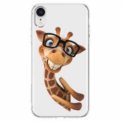 Etui na telefon Apple iPhone XR - Wesoła żyrafa w okularach.