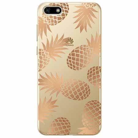 Etui na telefon Huawei Y5 2018 - Złote ananasy.