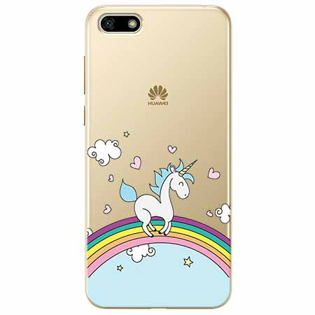 Etui na telefon Huawei Y5 2018 - Jednorożec na tęczy.