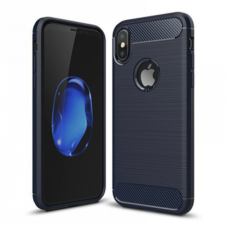 Etui na iPhone XS - bumper Neo CARBON - Granatowy.