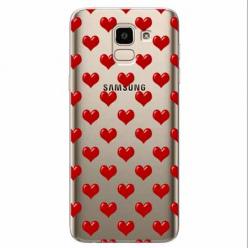 Etui na Samsung Galaxy J6 2018 - Czerwone serduszka.