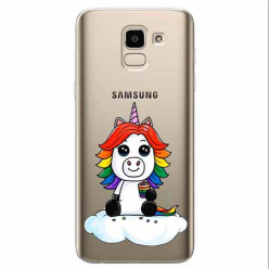 Etui na Samsung Galaxy J6 2018 - Tęczowy jednorożec na chmurce.