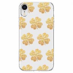 Etui na telefon Apple iPhone XR - Złote koniczynki.