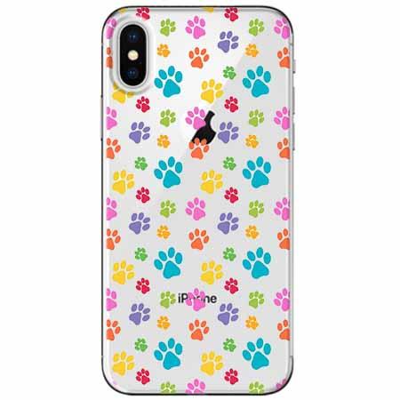 Etui na telefon Apple iPhone XS Max -  Kolorowe psie łapki.