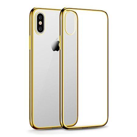 Etui na iPhone XS - silikonowe platynowane SLIM - Złoty.