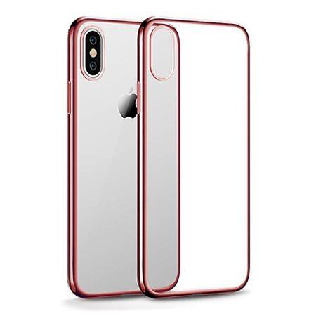 Etui na iPhone XS - silikonowe platynowane SLIM - Różowy.