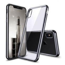 Etui na iPhone XS - silikonowe platynowane SLIM - Czarny.