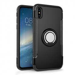 Etui na iPhone XS - Pancerne Magnet Ring - Czarny.