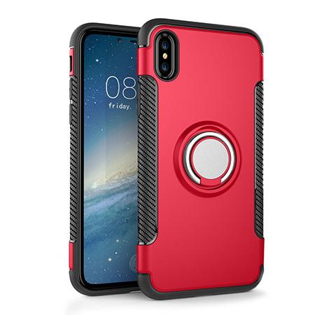 Etui na iPhone XS - Pancerne Magnet Ring - Czerwony.