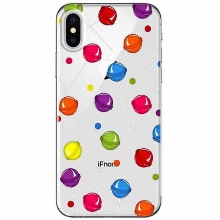 Etui na telefon Apple iPhone XS - Kolorowe lizaki.