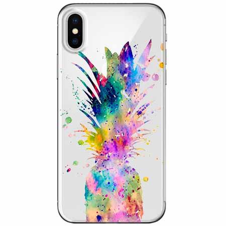 Etui na telefon Apple iPhone XS - Watercolor ananasowa eksplozja.