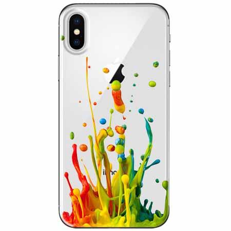 Etui na telefon Apple iPhone XS - Kolorowy splash.