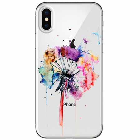 Etui na telefon Apple iPhone XS -  Watercolor dmuchawiec.