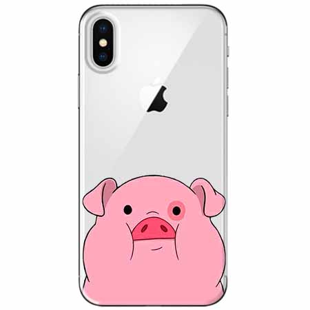 Etui na telefon Apple iPhone XS - Słodka różowa świnka.