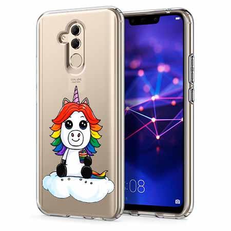 Etui na telefon Huawei Mate 20 Lite - Tęczowy jednorożec na chmurce.