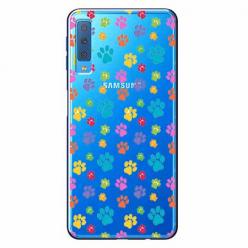 Etui na Samsung Galaxy A7 2018 - Kolorowe psie łapki.