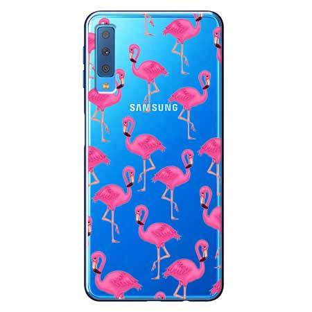 Etui na Samsung Galaxy A7 2018 - Różowe flamingi.