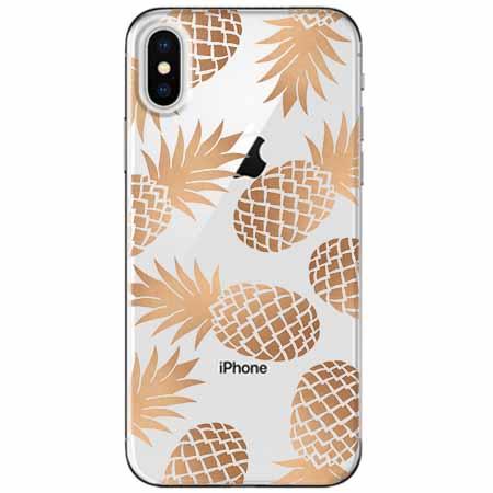 Etui na telefon Apple iPhone X - Złote ananasy.