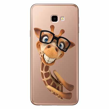 Etui na Samsung Galaxy J4 Plus - Wesoła żyrafa w okularach.