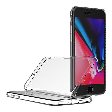 Etui na iPhone 8 Plus - silikonowe 360 Full przód i tył - przezroczyste.