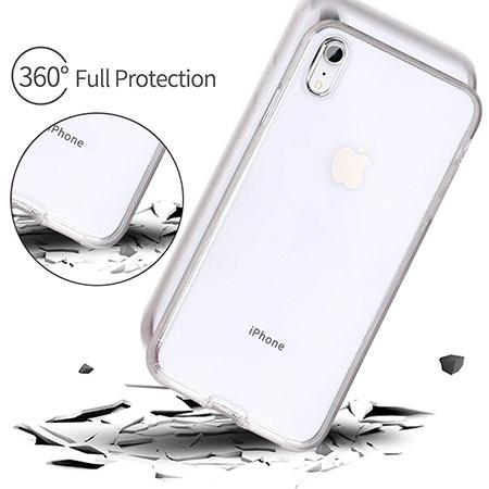 Etui na iPhone XR - silikonowe 360 Full przód i tył - przezroczyste.