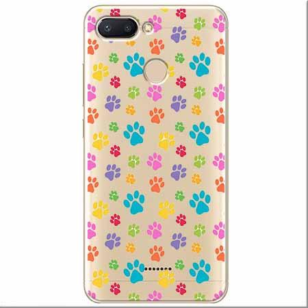Etui na Xiaomi Redmi 6 - Kolorowe psie łapki.