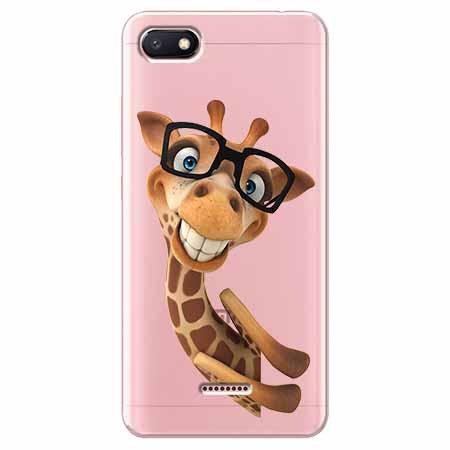 Etui na Xiaomi Redmi 6A - Wesoła żyrafa w okularach.