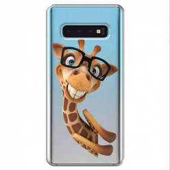 Etui na Samsung Galaxy S10 - Wesoła żyrafa w okularach.