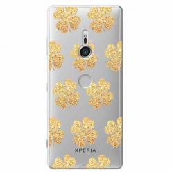 Etui na Sony Xperia XZ3 - Złote koniczynki.