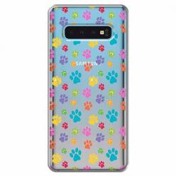Etui na Samsung Galaxy S10 Plus - Kolorowe psie łapki.