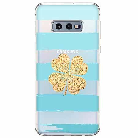 Etui na Samsung Galaxy S10e - Złota czterolistna koniczyna.