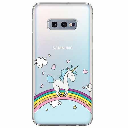 Etui na Samsung Galaxy S10e - Jednorożec na tęczy.