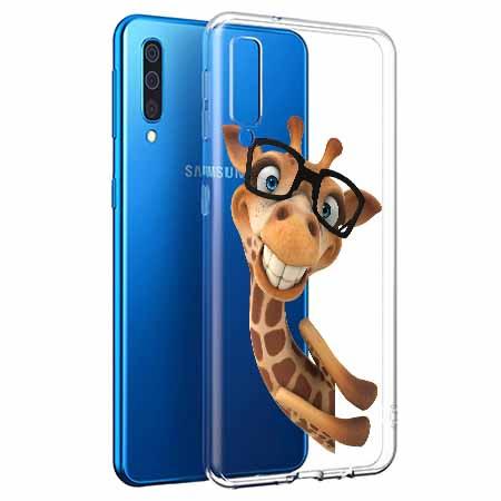 Etui na Samsung Galaxy A50 - Wesoła żyrafa w okularach.