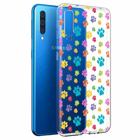 Etui na Samsung Galaxy A50 - Kolorowe psie łapki.
