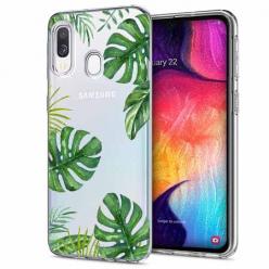 Etui na Samsung Galaxy A40 - Zielone liście palmowca