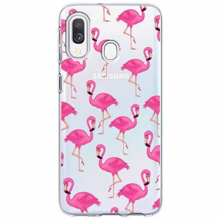 Etui na Samsung Galaxy A40 - Różowe flamingi.