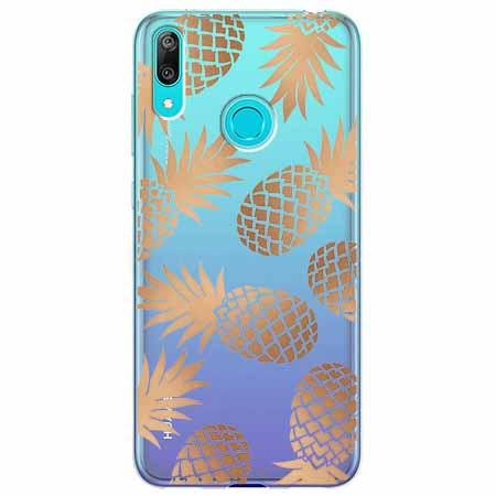 Etui na Huawei Y6 2019 - Złote ananasy.