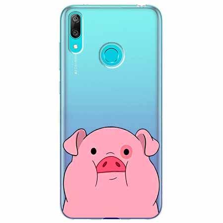 Etui na Huawei Y6 2019 - Słodka różowa świnka.