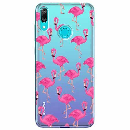 Etui na Huawei Y6 2019 - Różowe flamingi.