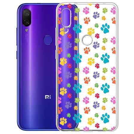 Etui na Xiaomi Redmi Note 7 - Kolorowe psie łapki.