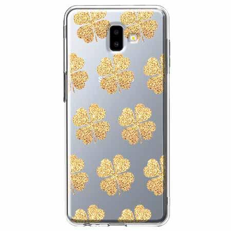 Etui na Galaxy J6 Plus - Złote koniczynki.