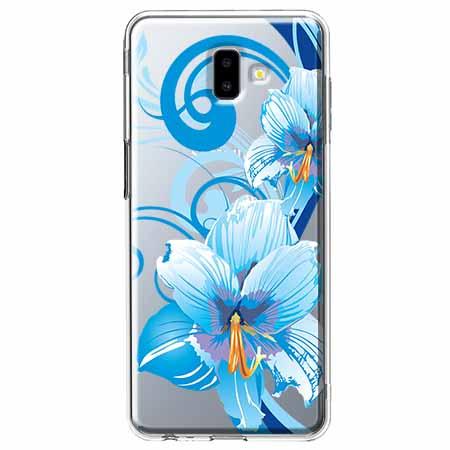 Etui na Galaxy J6 Plus - Niebieski kwiat północy.