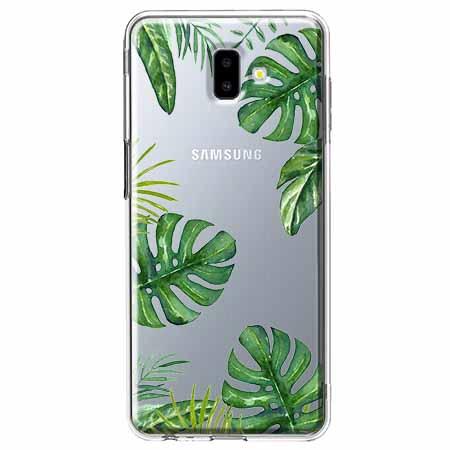 Etui na Galaxy J6 Plus - Zielone liście palmowca