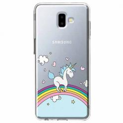 Etui na Galaxy J6 Plus - Jednorożec na tęczy.